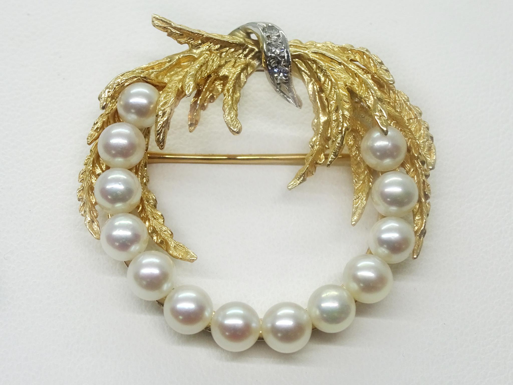 Gold wreath brooch Pearl brooch Gold brooch Vintage gold brooch Pearl pin Pearl wreath brooch Vintage pearl pin Vintage pearl brooch