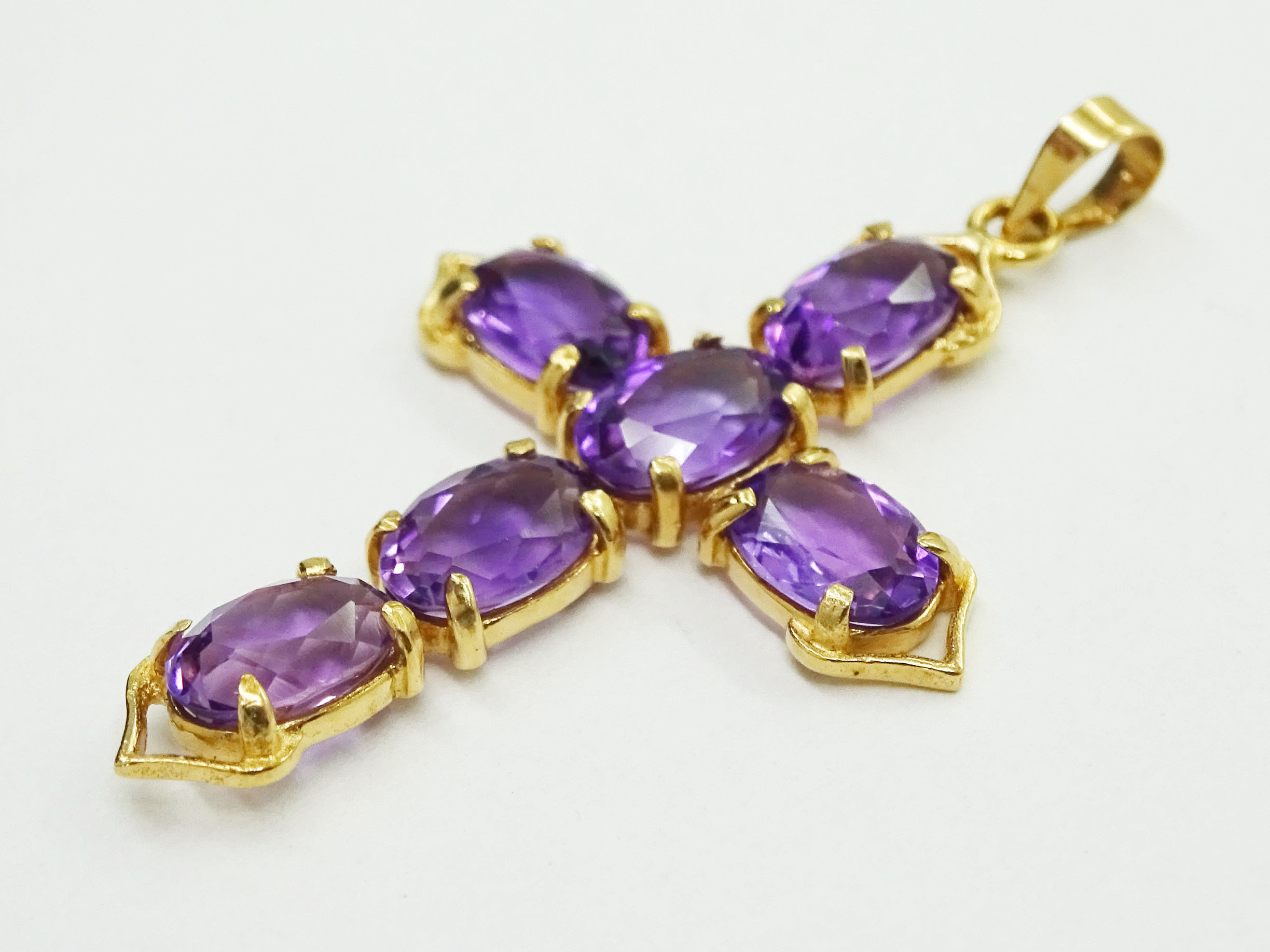 Natural Amethyst Pointed Cross Pendant 14k Gold