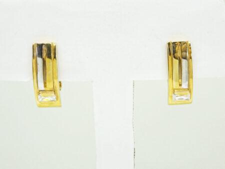 CZ U Hoop Earrings 14k Gold